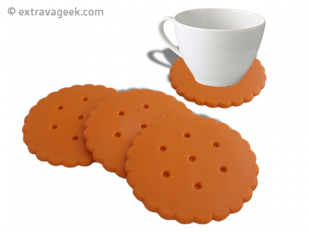 Gamme de 4 sous de verre en pvc en forme de biscuits extravageek blog objets geek cadeaux - Dessous de verre originaux ...
